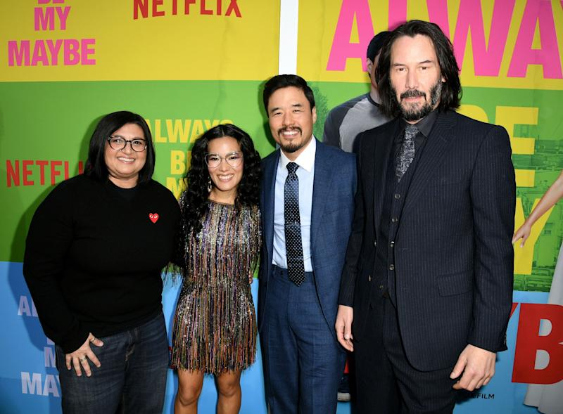 Director Nahnatchka Khan poses alongside writers and stars Ali Wong, Randall Park and co-star Keanu Reeves. (Photo: Kevin Winter via Getty Images)