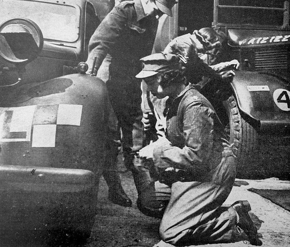 <p>Here, we can see Princess Elizabeth, the future Queen, doing technical repair work during her military service in WWII. </p>
