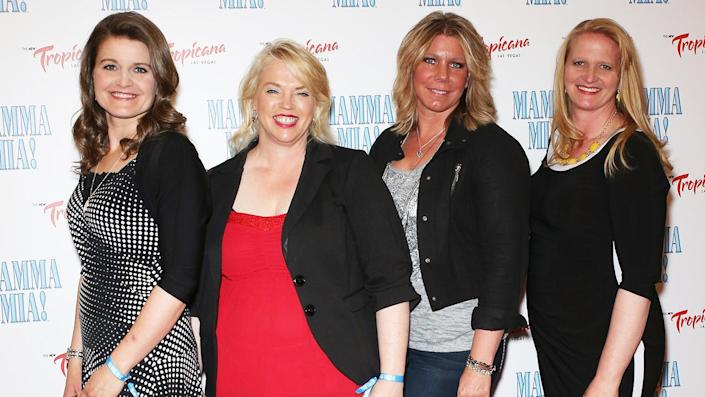 """(L-R) Plural wives Robyn Brown, Janelle Brown, Meri Brown and Christine Brown. <span class=""""copyright"""">Photo by Gabe Ginsberg/FilmMagic/Getty Images</span>"""