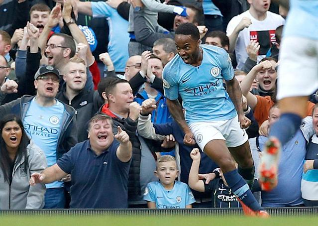 """Even if Sergio Aguero isn't fit, Raheem Sterling (pictured) and <a class=""""link rapid-noclick-resp"""" href=""""/soccer/teams/manchester-city/"""" data-ylk=""""slk:Manchester City"""">Manchester City</a> should beat Brighton &amp; Hove Albion in the FA Cup semifinals. (AP)"""