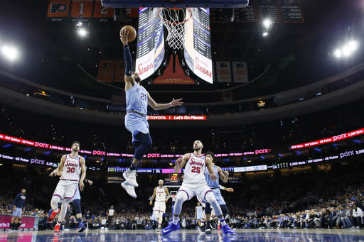 Memphis Grizzlies' Tyus Jones goes up for a shot during the first half of the team's NBA basketball game against the Philadelphia 76ers, Friday, Feb. 7, 2020, in Philadelphia. (AP Photo/Matt Slocum)