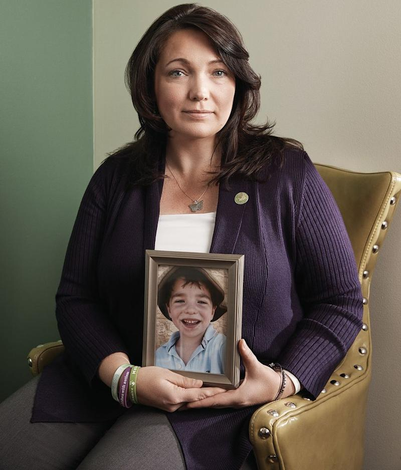 Nicole Hockley, holding a photo of son Dylan | Eric Ogden/Trunk