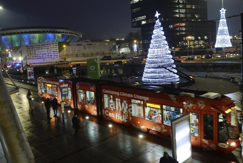 "A tramway at a stop near the ""Spodek"" arena, part of the venue where U.N. climate talks are help on ways of combating global warming in Katowice, Poland, Wednesday, Dec. 12, 2018.(AP Photo/Czarek Sokolowski)"