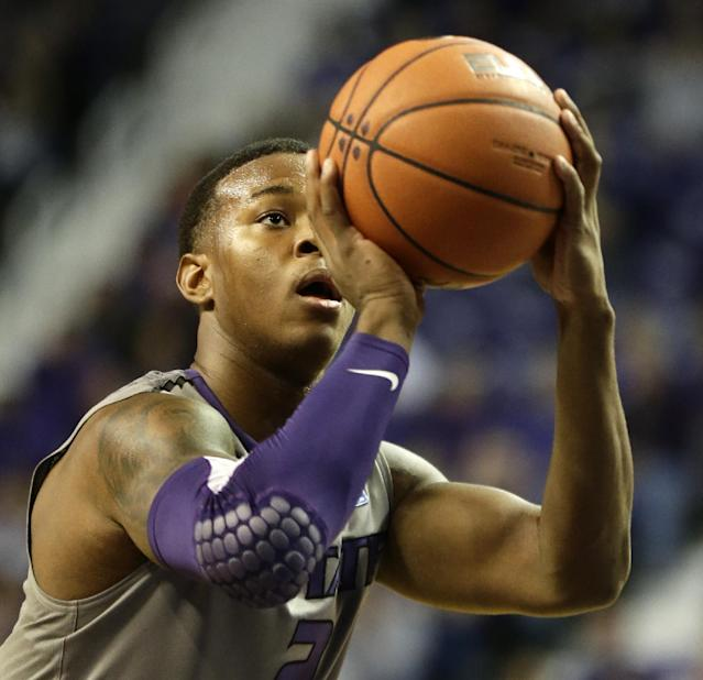 Kansas State's Marcus Foster shoots a free throw during the first half of an NCAA college basketball game against Long Beach State, Sunday, Nov. 17, 2013, in Manhattan, Kan. Kansas State won 71-58. (AP Photo/Charlie Riedel)