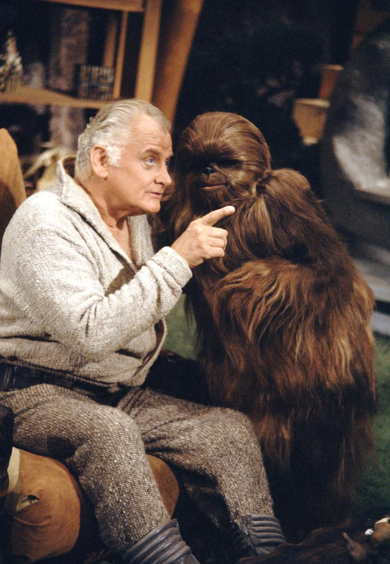 LOS ANGELES - AUGUST 23: THE THE STAR WARS HOLIDAY SPECIAL. From left: Art Carney as Saundan and Patty Maloney, as a Wookie named Lumpy. Image dated August 23, 1978. (Photo by CBS via Getty Images)