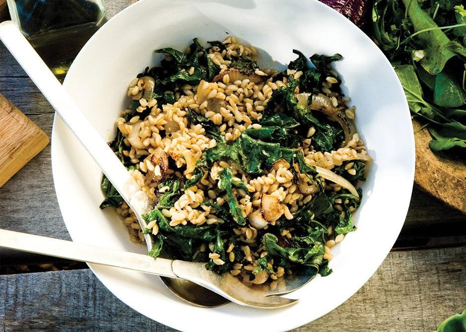 """Swap out the wheat berries with farro, barley, or any other whole grain. <a href=""""https://www.bonappetit.com/recipe/wheat-berries-charred-onions-kale?mbid=synd_yahoo_rss"""" rel=""""nofollow noopener"""" target=""""_blank"""" data-ylk=""""slk:See recipe."""" class=""""link rapid-noclick-resp"""">See recipe.</a>"""
