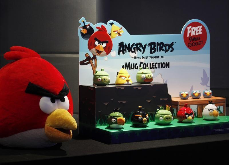 Angry Birds products are displayed during a news conference in Hong Kong