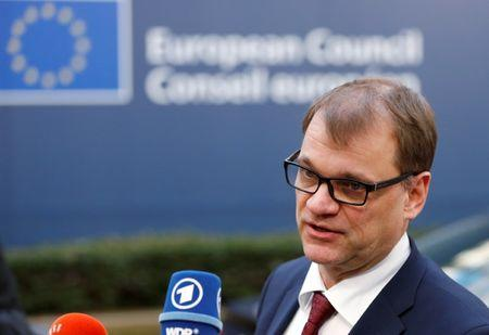 Finland's PM Sipila arrives at a EU leaders summit in Brussels