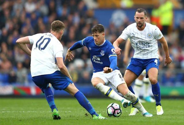during the Premier League match between Everton and Leicester City at Goodison Park on April 9, 2017 in Liverpool, England.
