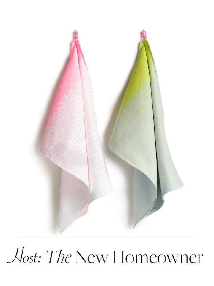 In addition to instantly brightening up a spare, un-lived-in space, dishtowels by cult Copenhagen store Hay come in handy long after the move. $32