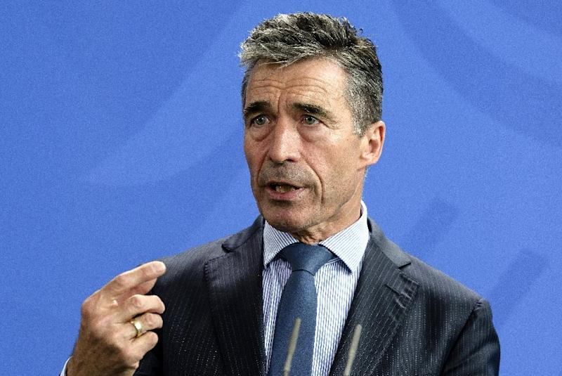 NATO Secretary General Anders Fogh Rasmussen speaks during a press conference after his talks with German Chancellor at the chancellery in Berlin on July 2, 2014