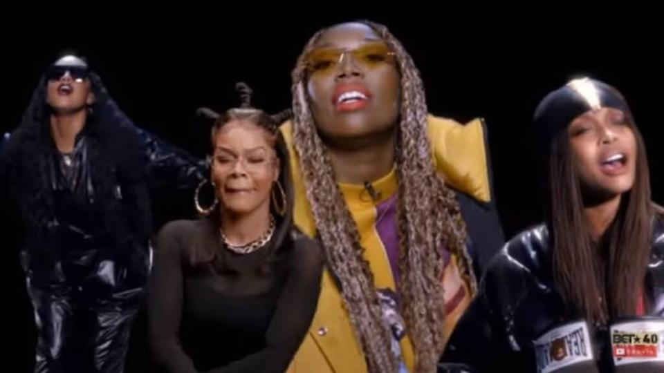 "The ""BET Hip-Hop Awards"" cypher featured (from left) H.E.R., Teyana Taylor, Brandy and Erykah Badu, who rocked their mics right."