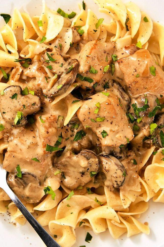 """<p>We recently discovered our love of the old-school classic beef stroganoff. It's creamy, hearty, and DELICIOUS over a bed of pappardelle pasta. This chicken version is just as good. It's a little lighter than the original, but still super flavourful and extremely comforting.</p><p>Get the <a href=""""https://www.delish.com/uk/cooking/recipes/a30218906/chicken-stroganoff-recipe/"""" rel=""""nofollow noopener"""" target=""""_blank"""" data-ylk=""""slk:Chicken Stroganoff"""" class=""""link rapid-noclick-resp"""">Chicken Stroganoff</a> recipe.</p>"""