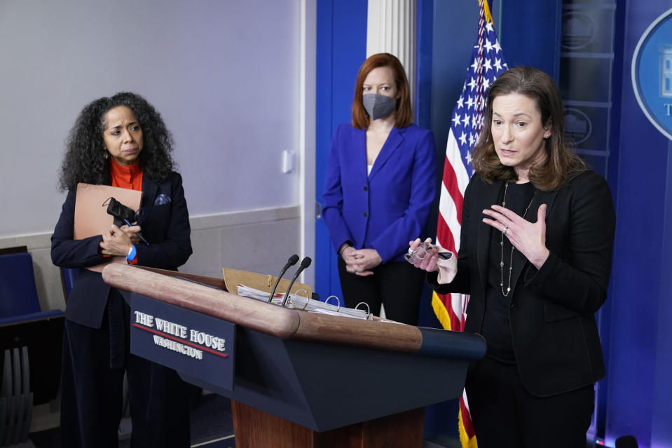 Gender Policy Council co-chair Jennifer Klein, right, speaks alongside Julissa Reynoso, left, fellow co-chair and chief of staff to first lady Jill Biden, and White House press secretary Jen Psaki during a press briefing at the White House, Monday, March 8, 2021, in Washington. (AP Photo/Patrick Semansky)