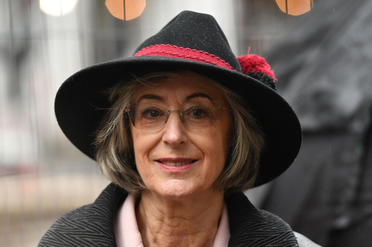 Maureen Lipman speaking at a demonstration organised by the Campaign Against Antisemitism outside the Labour Party headquarters in central London, against alleged prejudice in the Labour Party, amid a row over the party's handling of claims of anti-semitism. (Photo by Dominic Lipinski/PA Images via Getty Images)