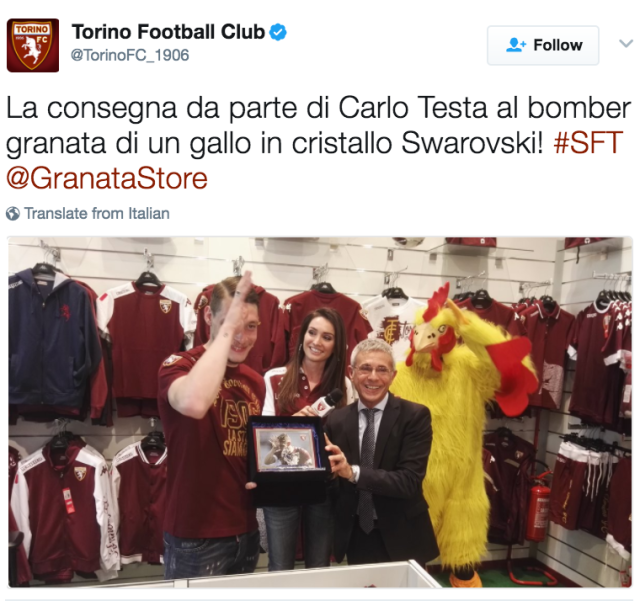 The Italian forward has been awarded with a rooster for his fine efforts a Torino