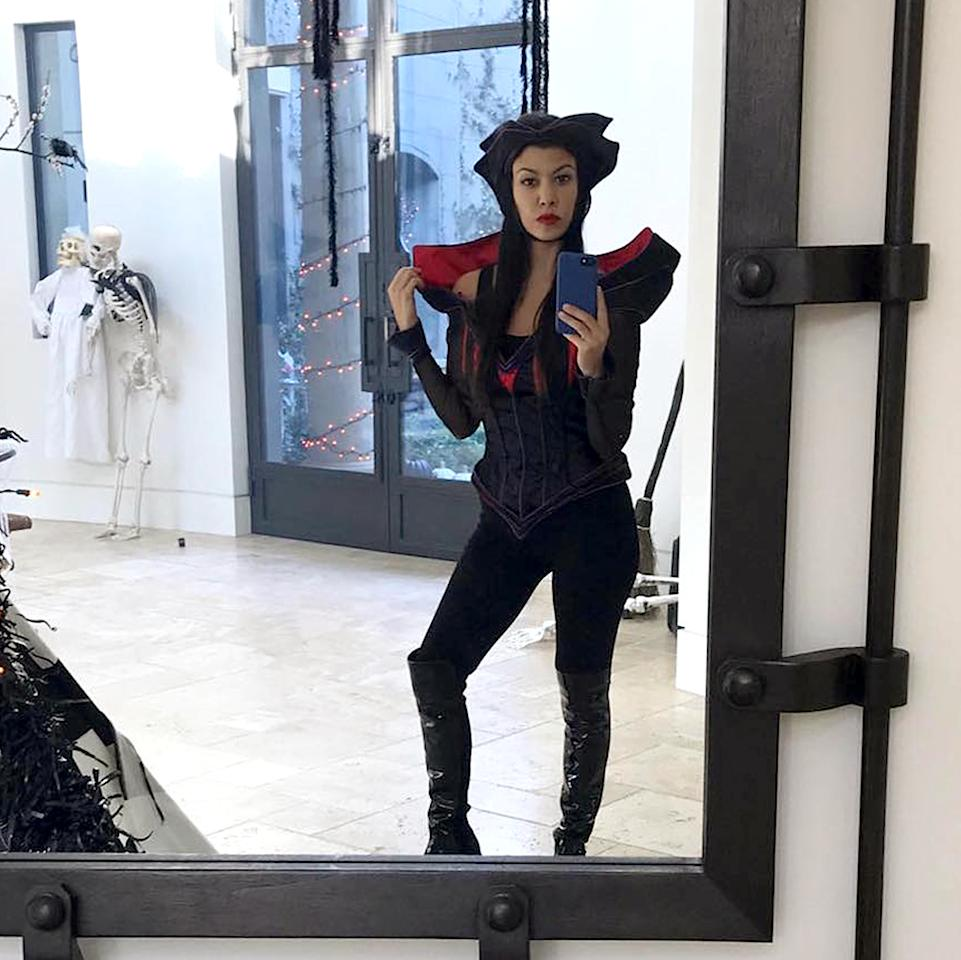 "<p>The mom of three broke out a Disney witch-inspired costume for a bash at her place with her friends and all of their kids. ""Evil"" is how Kardashian described it. (Photo: <a rel=""nofollow"" href=""https://www.instagram.com/p/BL_6fAqFMPi/?taken-by=kourtneykardash&hl=en"">Instagram)</a> </p>"