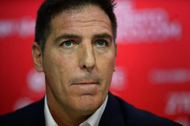 "Sevilla FC released a statement saying Eduardo Berizzo had been sacked ""due to the bad form of the team,"" without mentioning his illness (AFP Photo/CRISTINA QUICLER )"