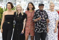 Jury president Spike Lee, second from right, poses with jury members Maggie Gyllenhaal,from left, Jessica Hausner, Mati Diop, and Melanie Laurent at the photo call for the jury at the 74th international film festival, Cannes, southern France, Tuesday, July 6, 2021. (Photo by Vianney Le Caer/Invision/AP)