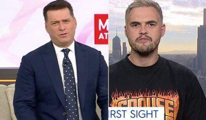 Karl Stefanovic (left) skewers Sam from Married At First Sight (Photo: Channel 9)