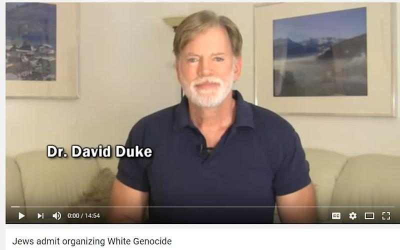 David Duke's anti-Semitic video will not be taken off YouTube