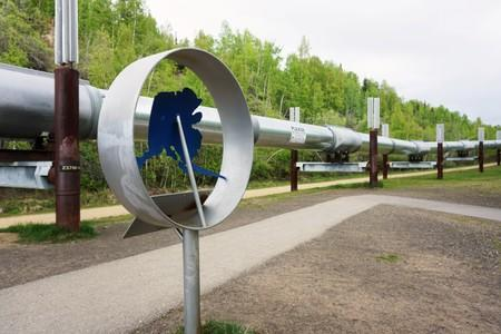 The Trans Alaska Pipeline is pictured near the midpoint of the 800-mile line, near Fairbanks