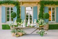 """<p>Dreaming of a romantic escape to France this summer? <a href=""""https://provencepoiriers.com/"""" rel=""""nofollow noopener"""" target=""""_blank"""" data-ylk=""""slk:Le Mas des Poirier"""" class=""""link rapid-noclick-resp"""">Le Mas des Poirier</a> is an 18th-century farmhouse in Provence, located not far from the mediaeval city of Avignon. Set in 65 acres, including working pear orchards (producing 60 tonnes of pears annually) the property is available for rent and offers true privacy and beautiful interiors designed by Susan Bednar Long, using Pierre Frey fabrics exclusively.<br></p><p>Here, you will also be able to sample the exquisite work of the French baker Catherine Pierard, who goes by the name """"Made in Cake"""". After making an exclusive patisserie for the Ritz hotel in London, she was asked to do the same for Le Mas des Poiriers, and the result is a contemporary alternative to the traditional Pièce Montée wedding cake. We met her to talk through the process of designing this magical creation.</p>"""