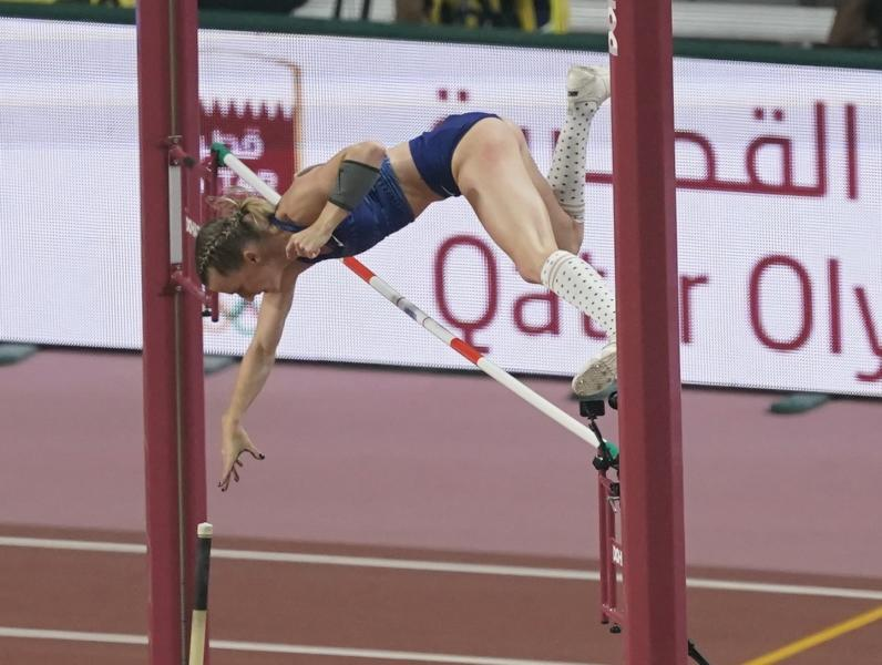 Anzhelika Sidorova, of participates as a neutral athlete, clears the bar during the women's pole vault final at the World Athletics Championships in Doha, Qatar, Sunday, Sept. 29, 2019. (AP Photo/Morry Gash)