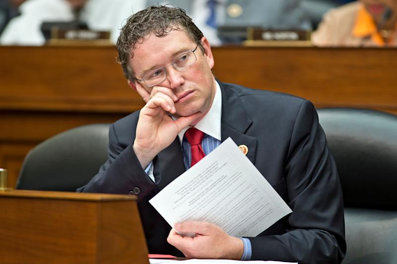 Rep. Thomas Massie (R-Ky.) during a House Oversight Committee hearing on Capitol Hill in Washington.  (Photo: AP Photo/J. Scott Applewhite)