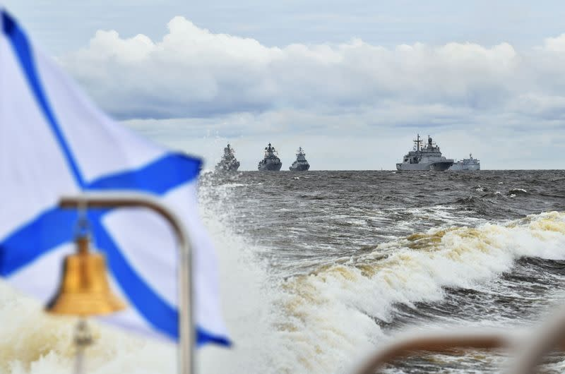 Russian Navy's warships are seen ready for the Navy Day parade in Saint Petersburg