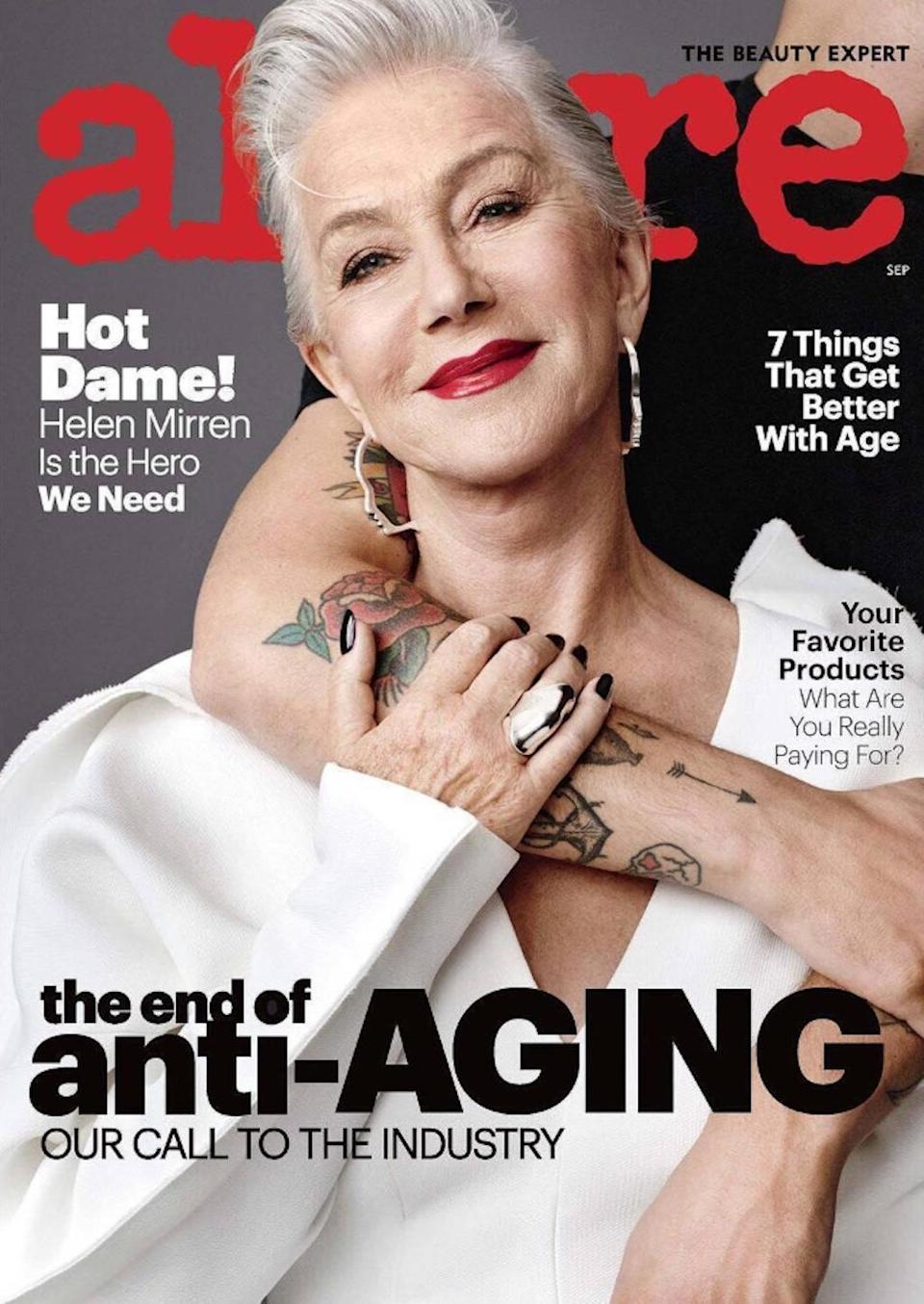 """<p><em>Allure</em>'s September 2017 issue made news when it announced the magazine's ban on the term """"anti-aging."""" The beautiful 72-year-old Mirren was on the cover to illustrate just how graceful aging can be. (Photo: Allure) </p>"""