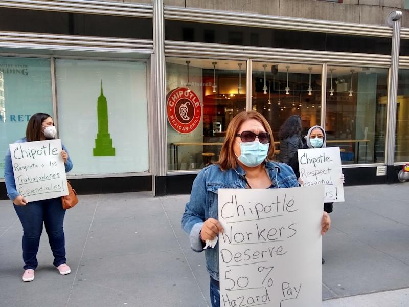 Workers at New York City Chipotle restaurants protested unsafe working conditions at the fast food chain on Thursday.