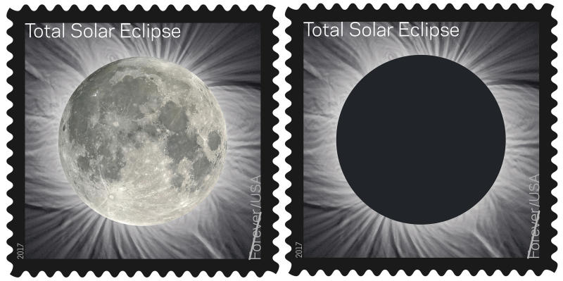 FILE - These undated images provided by the United States Postal Service shows the Total Solar Eclipse Forever stamp. On Monday, Aug. 21, 2017, more than 110 U.S. Postal Service offices in or near the path of totality of the U.S. solar eclipse are offering special postmarks. (USPS via AP, File)