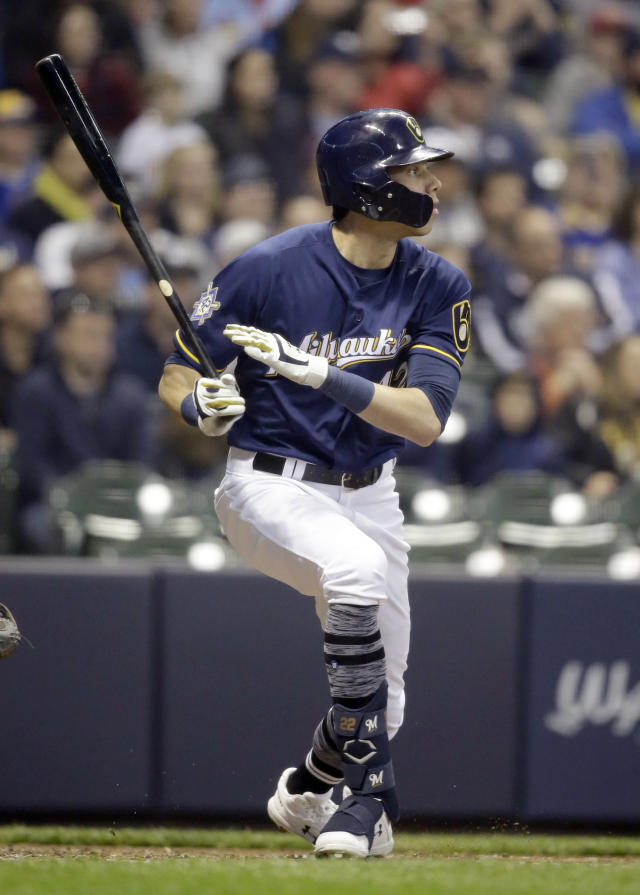 Milwaukee Brewers' Christian Yelich watches his three-run home run against the St. Louis Cardinals during the second inning of a baseball game Monday, April 15, 2019, in Milwaukee. (AP Photo/Jeffrey Phelps)