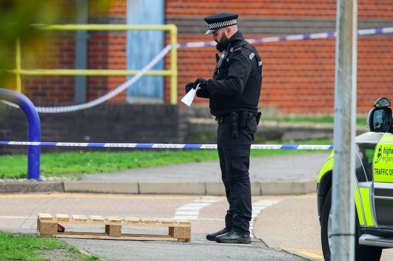 A police presence remains at the scene of the discovery(PA)