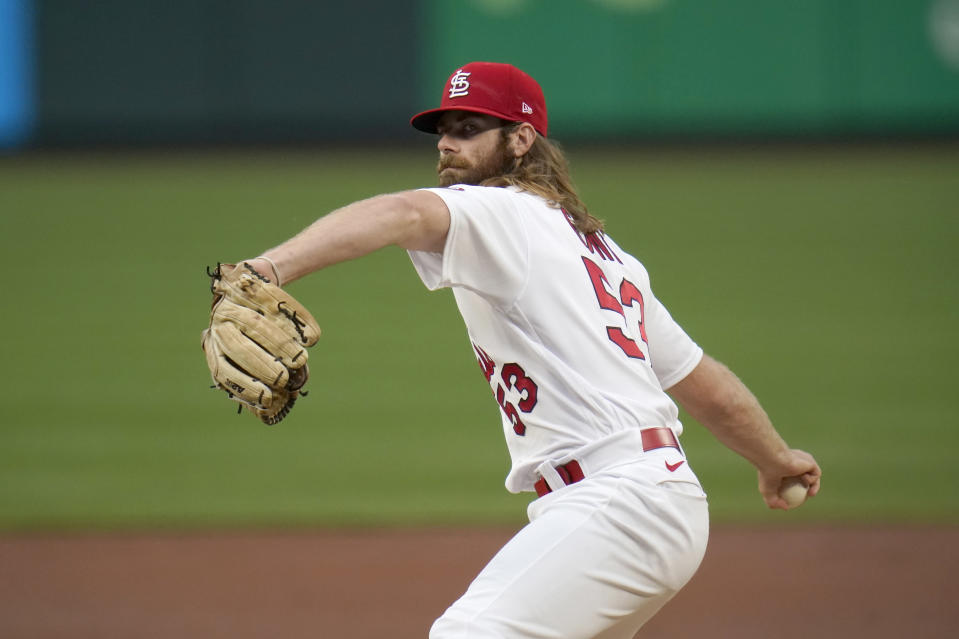 St. Louis Cardinals starting pitcher John Gant throws during the second inning of a baseball game against the Pittsburgh Pirates Tuesday, May 18, 2021, in St. Louis. (AP Photo/Jeff Roberson)