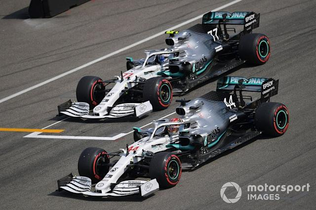 "Lewis Hamilton and Valtteri Bottas, Mercedes AMG W10 <span class=""copyright"">Jerry Andre / Sutton Images</span>"