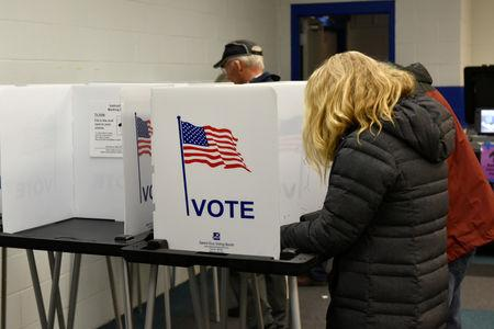 FILE PHOTO: Voters fill out their ballots for the midterm election at a polling place in Madison, Wisconsin