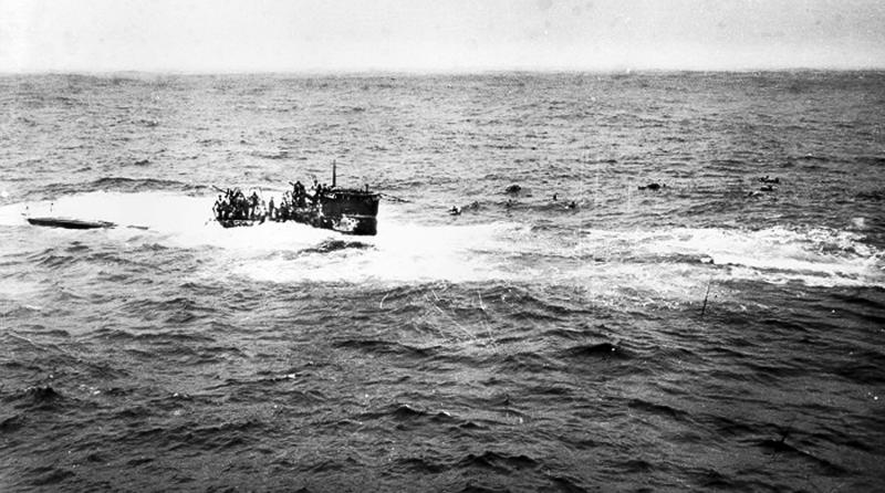 This April 16, 1944 photo provided by the U.S. Navy, posted on a U.S. Coast Guard web site, shows crewmen of German submarine U-550 abandoning ship in the Atlantic Ocean after being depth charged by the USS Joyce, a destroyer in an Allied convoy that the submarine attacked.A team of explorers found the U-550, a World War II-era German submarine, Monday, July 23, 2012, on the floor of the Atlantic about 70 miles south of Nantucket Island, Mass. (AP Photo/U.S. Navy)