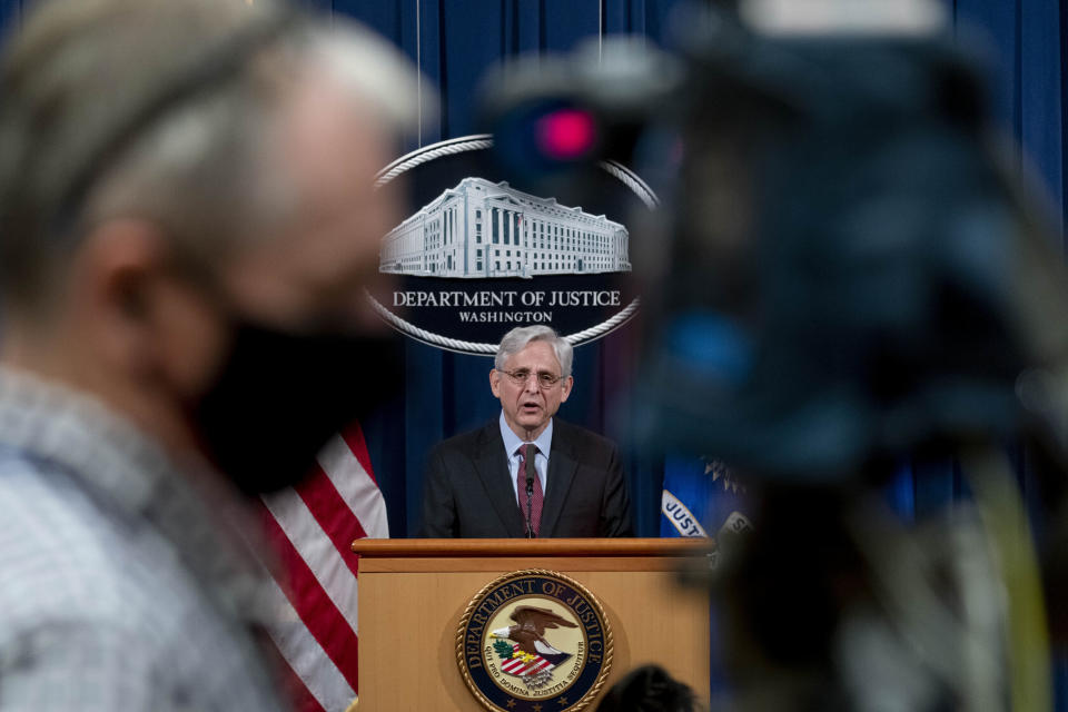 FILE - In this April 21, 2021, file photo Attorney General Merrick Garland speaks about a jury's verdict in the case against former Minneapolis Police Officer Derek Chauvin in the death of George Floyd, at the Department of Justice in Washington. Federal prosecutors have charged four former Minneapolis police officers with civil rights violations in Floyd's death. (AP Photo/Andrew Harnik, Pool)