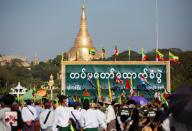 Army supporters gather to celebrate after the military seized power in a coup in Yangon, Myanmar