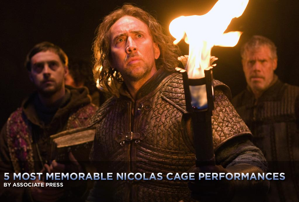 """No matter the role -- and he's played a diverse array of them over the past three decades -- Nicolas Cage often seems to be teetering on the brink of his own personal, self-inflicted insanity.   Sure, he's done plenty of forgettable action movies, and lately he's been at the fore of some family-friendly Disney adventures. Then there was that period in the late '90s where every movie he made was a drag, and it was a drag watching him in them. But when he's at his volatile best, it's an exciting place to be.   This week, with Cage starring in his latest in a series of wheels-off thrillers,<a href=""""http://movies.yahoo.com/movie/1810055815/info"""">Season of the Witch</a>, <a href=""""http://movies.yahoo.com/news/movies.ap.org/5-most-memorable-nicolas-cage-performances-ap"""">here's a look at his five most memorable performances.</a>. Like the <a href=""""http://movies.yahoo.com/photos/collections/gallery/3151/5-most-memorable-jack-nicholson-performances"""">best-of-Jack-Nicholson list</a> recently, this one was hard to narrow down:"""
