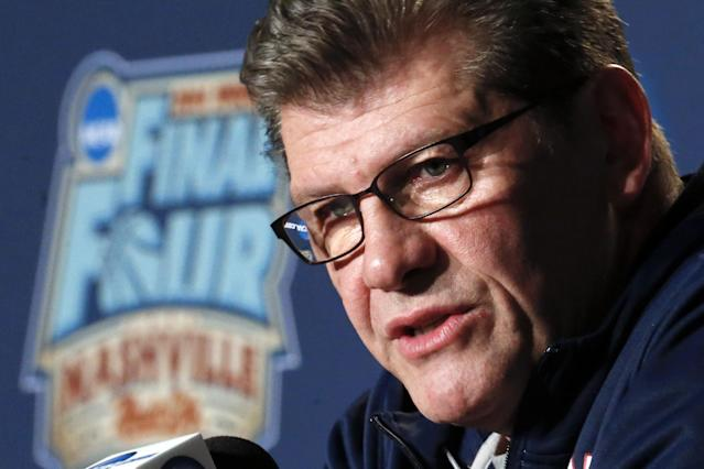 Connecticut head coach Geno Auriemma answers a question during a news conference at the NCAA women's Final Four college basketball tournament Monday, April 7, 2014, in Nashville, Tenn. Connecticut is scheduled to face Notre Dame in the championship game Tuesday. (AP Photo/John Bazemore)