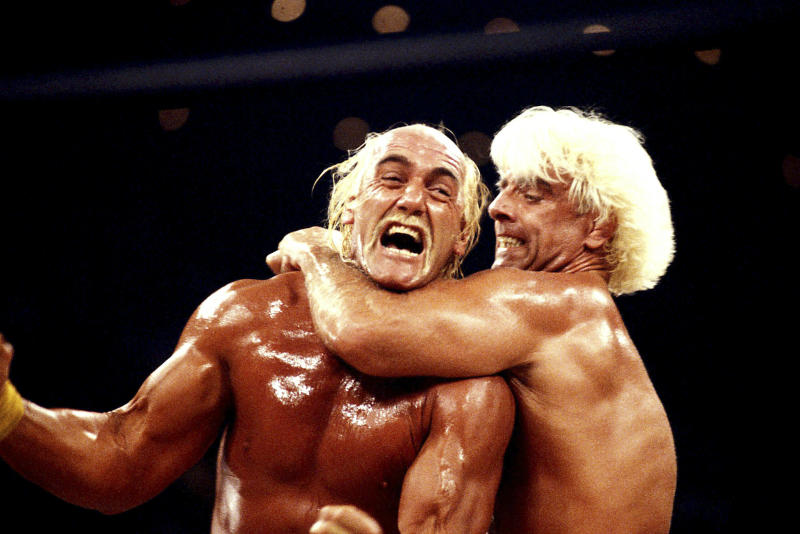 "Hulk Hogan Vs Ric ""Nature Boy"" Flair At World Championship Wrestling ""Bash At The Beach"" Credit: 2124089Globe Photos/MediaPunch /IPX"