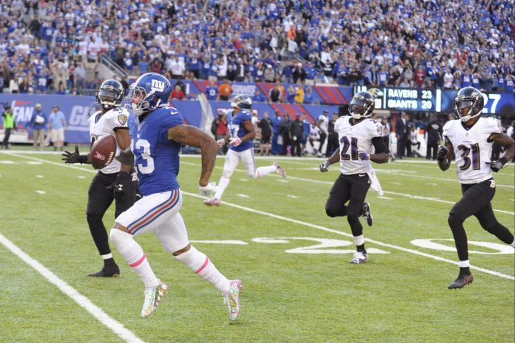 Odell Beckham's 66-yard touchdown on fourth down got the Giants a win (AP)