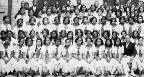 <p>High school students smile for a class photo at the Frederick Douglass High School in Baltimore, Maryland.<br></p>