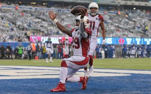 Arizona Cardinals running back Chase Edmonds (29) celebrates his third touchdown of the game against the New York Giants during the second half at MetLife Stadium - Credit: USA Today