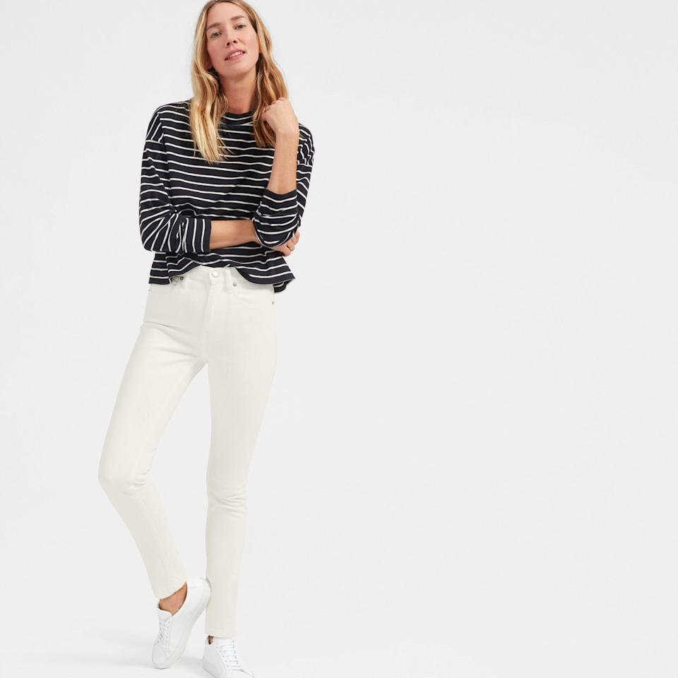"""<br> <br> <strong>Everlane</strong> The High-Rise Skinny Jean, $, available at <a href=""""https://go.skimresources.com/?id=30283X879131&url=https%3A%2F%2Fwww.everlane.com%2Fproducts%2Fwomens-high-waist-white-denim-jeans"""" rel=""""nofollow noopener"""" target=""""_blank"""" data-ylk=""""slk:Everlane"""" class=""""link rapid-noclick-resp"""">Everlane</a>"""