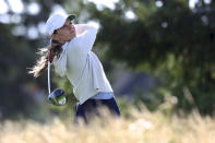Sarah Schmelzel watches her tee shot on the second hole during the first round of the LPGA Cambia Portland Classic golf tournament in West Linn, Ore., Thursday, Sept. 16, 2021. (AP Photo/Steve Dipaola)