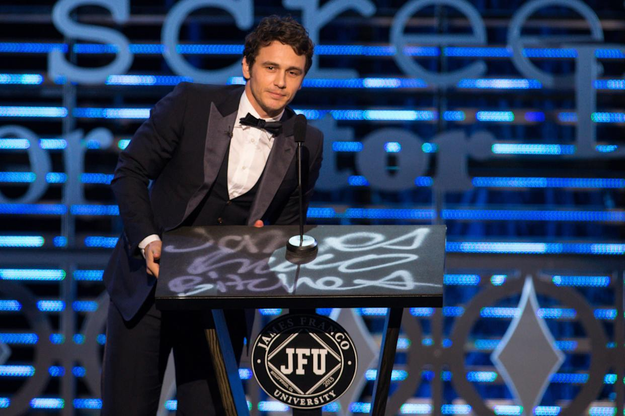 Actor James Franco stands onstage during the Roast of James Franco at Culver Studios, Sunday, Aug. 25, 2013, in Culver City, Calif. (Photo by Paul A. Hebert/Invision/AP)